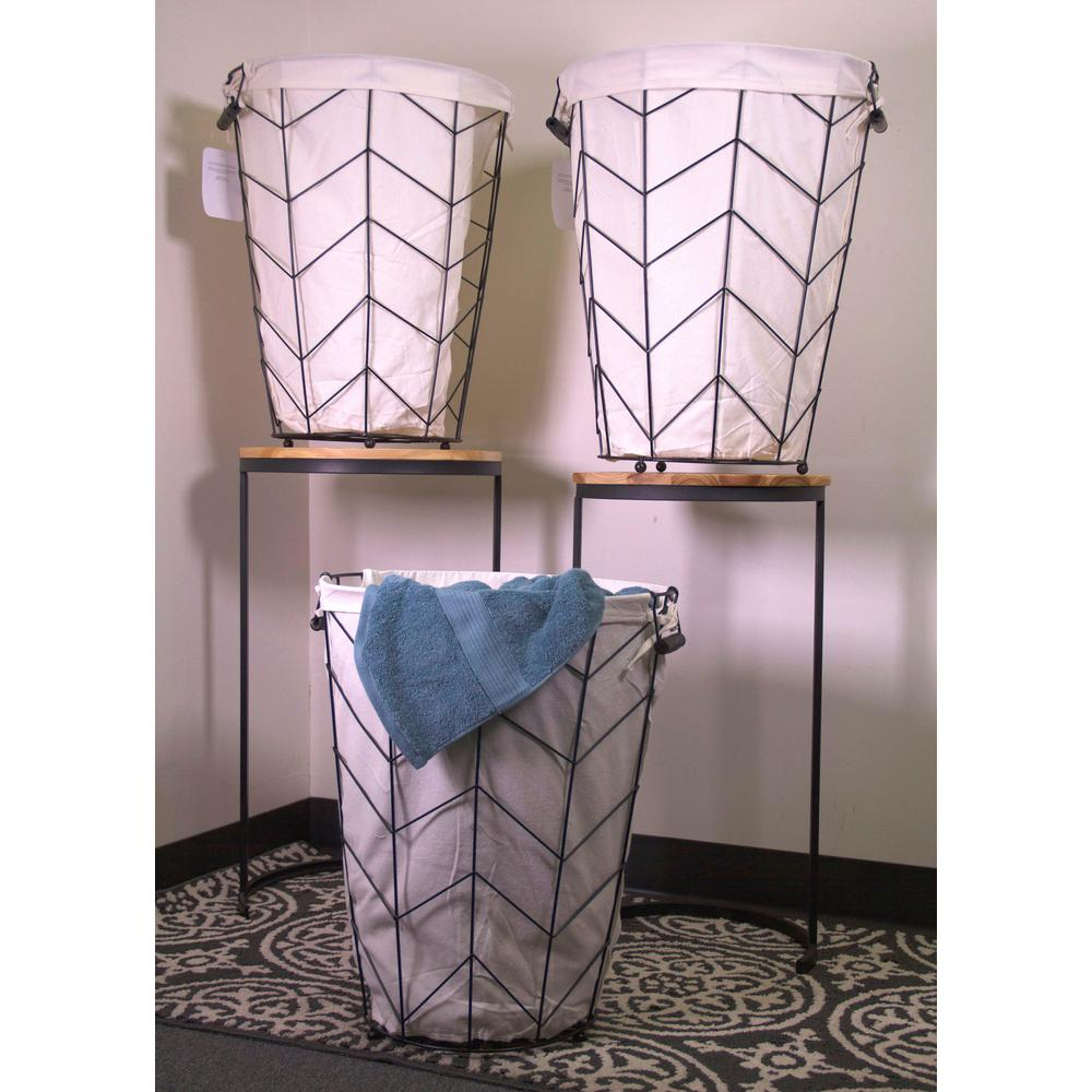 3-Piece Tapered Round Metal Herringbone Hamper with Fabric Liner