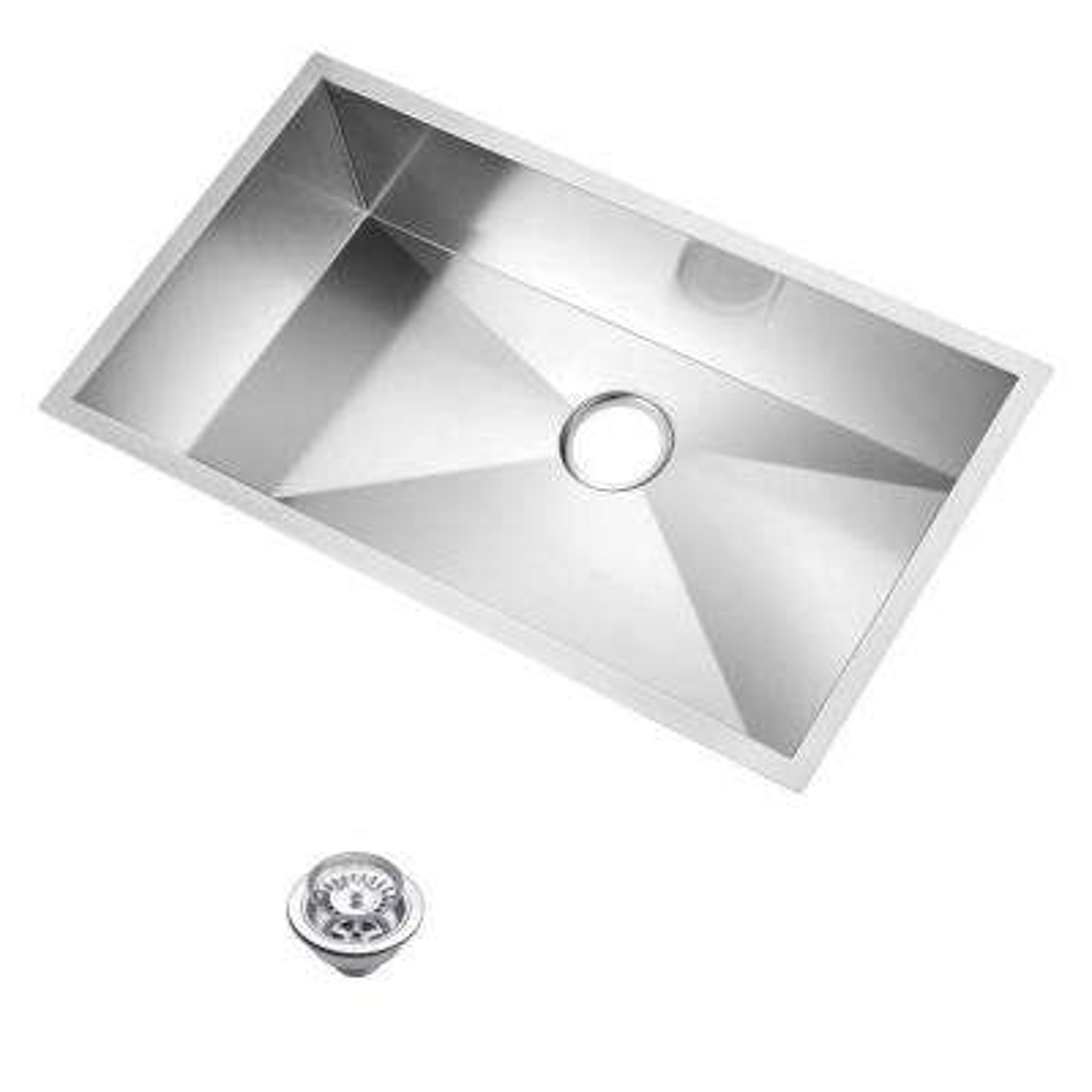 Undermount Zero Radius Stainless Steel 33x19x10 in. 0-Hole Single Bowl Kitchen Sink with Strainer in Satin
