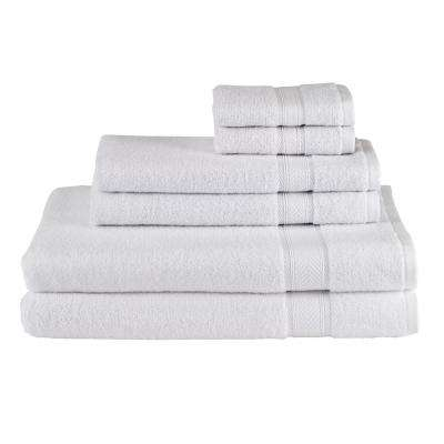 Solid 6-Piece Bath Towel Set in White