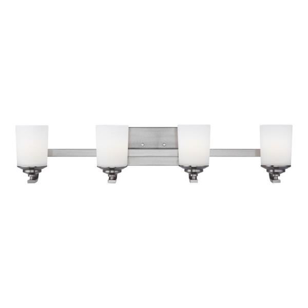 Kemal 34 in. 4-Light Brushed Nickel Vanity Light with Etched White Inside Glass Shades