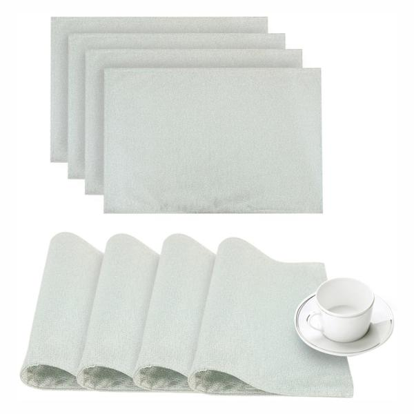 Dainty Home Little Rock Aqua Glimmer Fabric Placemat (Set of 4)