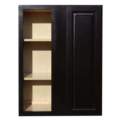 La. Newport Ready to Assemble 27x36x12 in. 1-Door Wall Blind Corner Cabinet with 2-Shelves in Dark Espresso