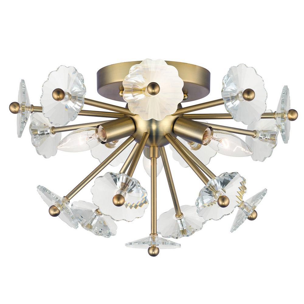 Floret 16 in. 3-Light Satin Brass Flush Mount