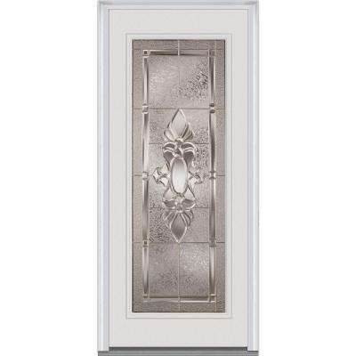 32 in. x 80 in. Heirloom Master Right-Hand Inswing Full Lite Decorative Painted Fiberglass Smooth Prehung Front Door