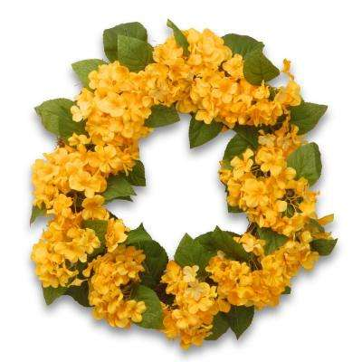 24 in. Yellow Hydrangea Wreath