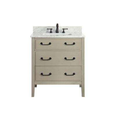 Delano 31 in. W x 22 in. D x 35 in. H Vanity in Taupe Glaze with Marble Vanity Top in Carrera White with White Basin