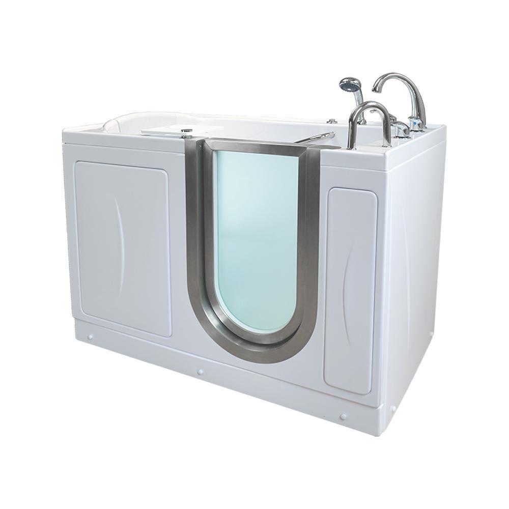 Royal 52 in. Acrylic Walk-In MicroBubble Air Bath Bathtub in White, Fast Fill Faucet, Heated Seat, RHS Dual Drain