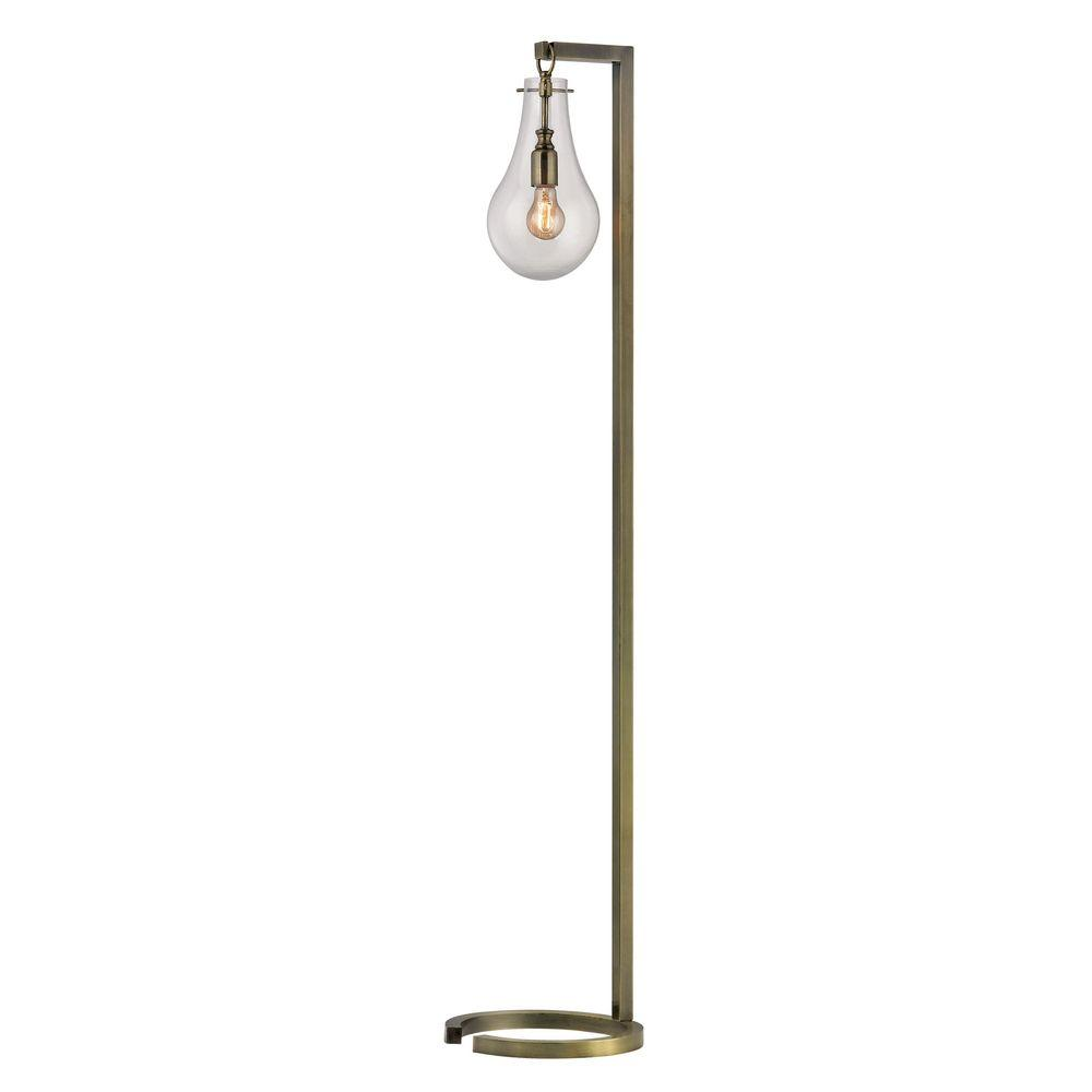 Delightful Titan Lighting 60 In. Antique Brass Floor Lamp With Clear Glass  Shade TN 999330   The Home Depot