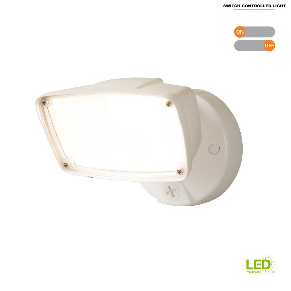 Halo 23 Watt White Outdoor Integrated Led Large Head Flood Light With Switch Control Fsl203twh