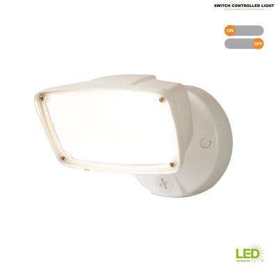 23-Watt White Outdoor Integrated LED Large-Head Flood Light with Switch Control