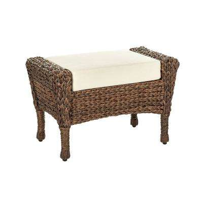 Rustic Brown Aluminum Outdoor Ottoman with Beige Cushion