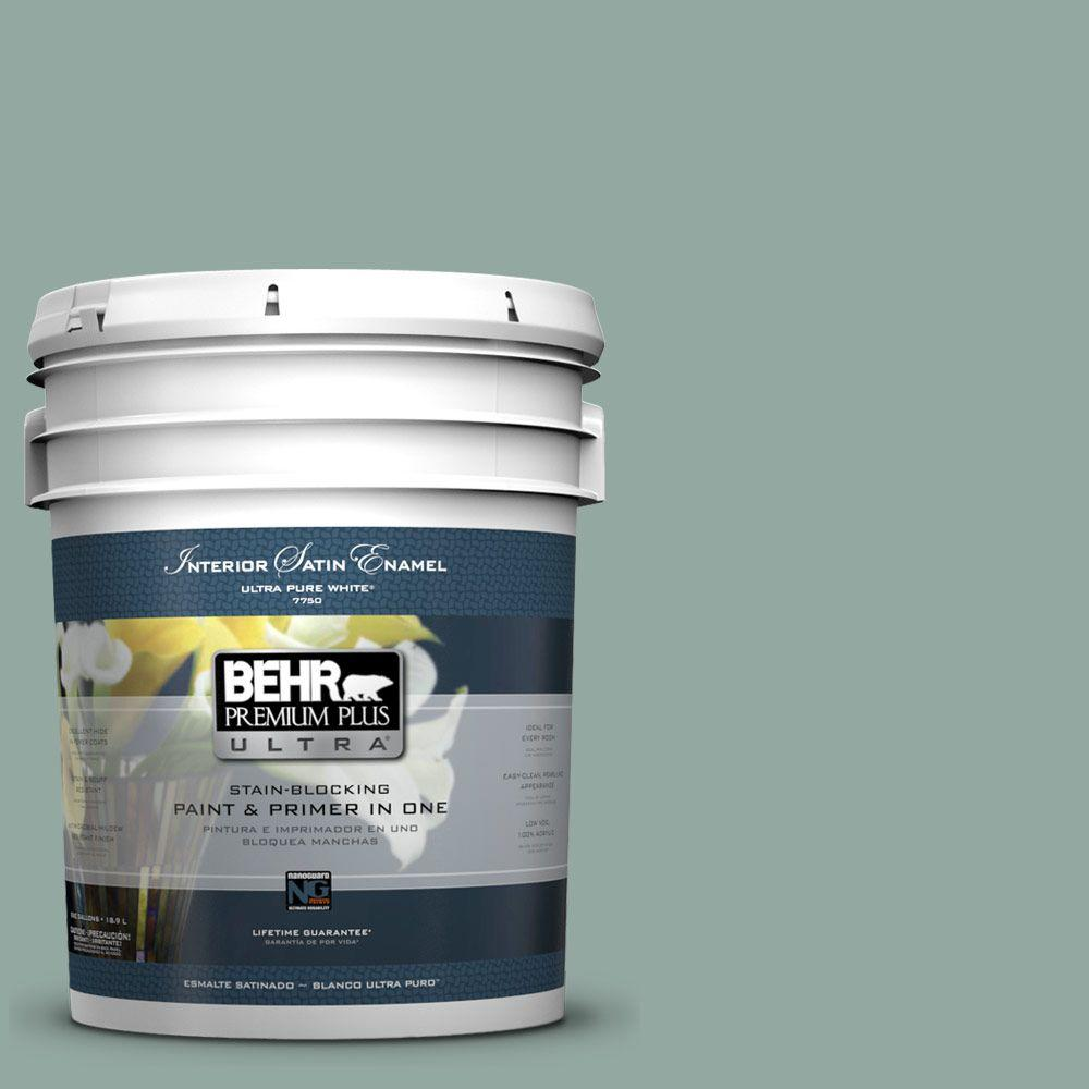BEHR Premium Plus Ultra 5-gal. #PPU12-5 Lotus Leaf Satin Enamel Interior Paint