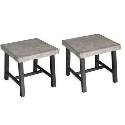 Hamma Square Aluminum Outdoor Side Table (2-Set)