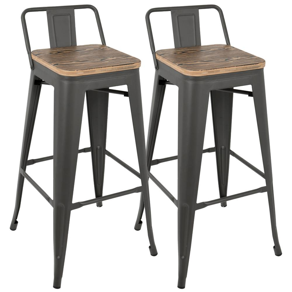 Lumisource Oregon Grey And Brown Low Back Barstool Set Of