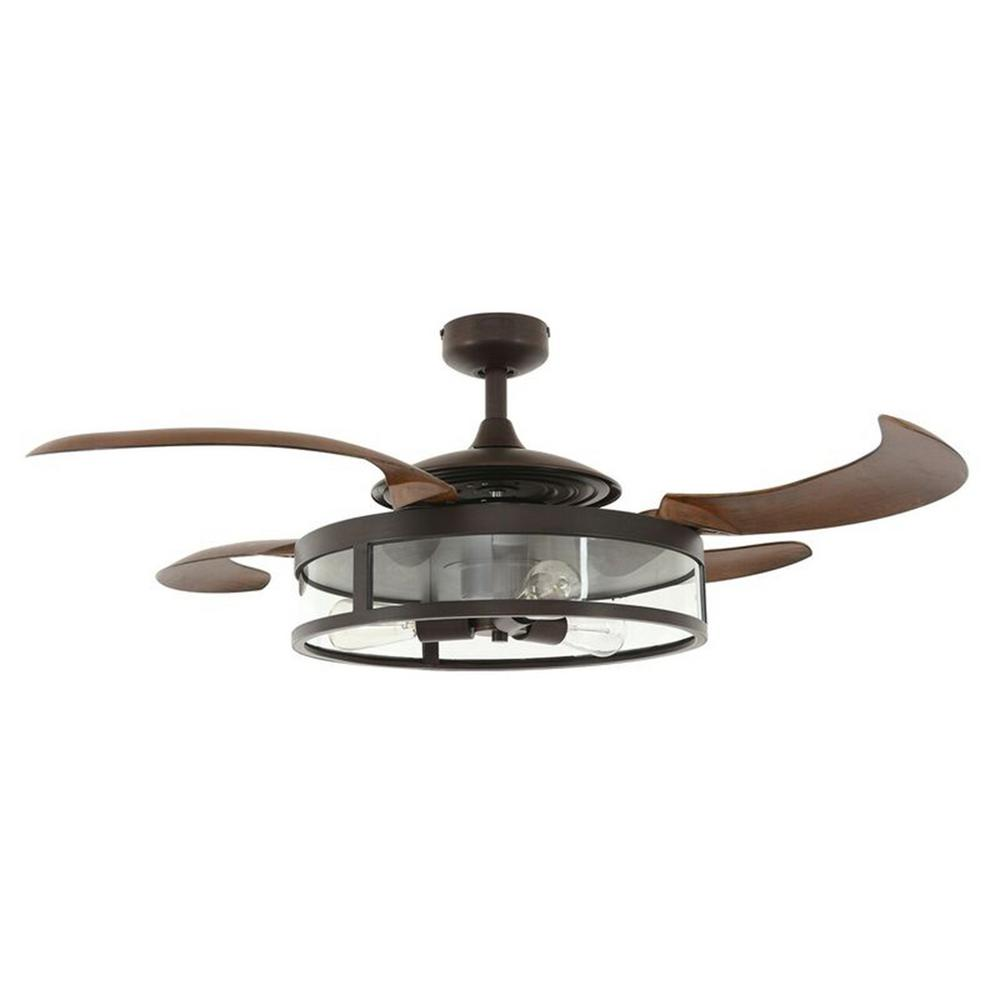 Fanaway Classic Oil Rubbed Bronze and Dark Koa Retractable 4-Blade 48 in. 3-Light AC Ceiling Fan