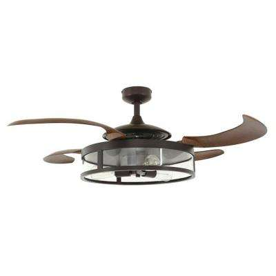 Classic Oil Rubbed Bronze and Dark Koa Retractable 4-Blade 48 in. 3-Light AC Ceiling Fan