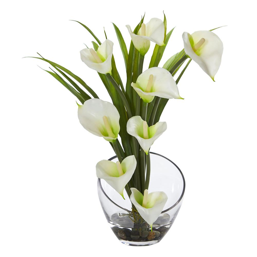 15.5 in. High Cream Calla Lily and Grass Artificial Arrangement in