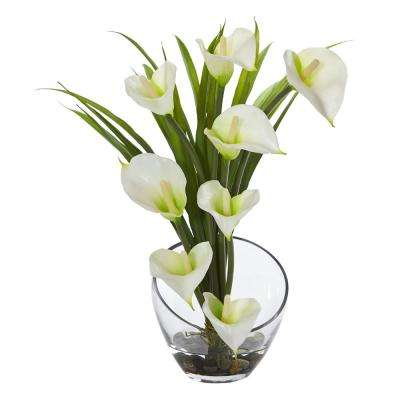 15.5 in. High Cream Calla Lily and Grass Artificial Arrangement in Vase