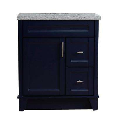 31 in. W x 22 in. D Single Bath Vanity in Blue with Granite Vanity Top in Gray with White Rectangle Basin