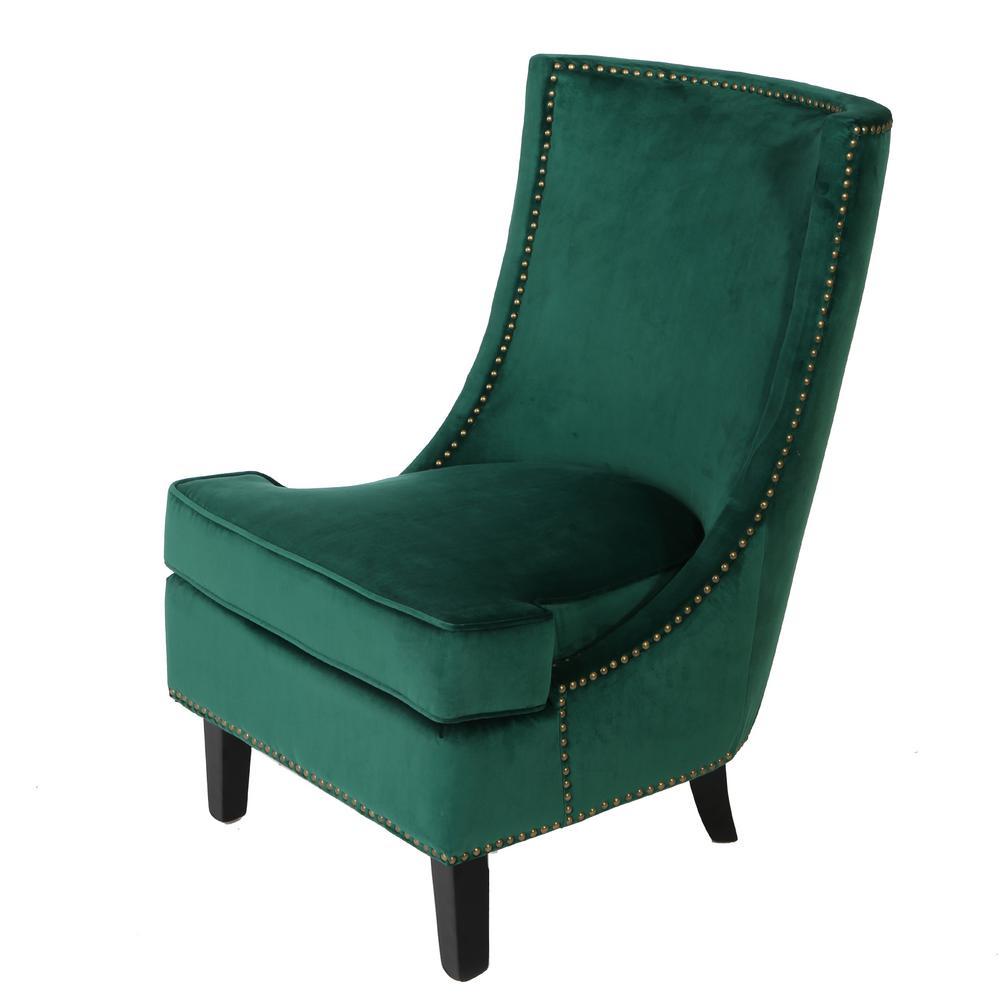 Carole Studded Dark Green Velvet Accent Chair