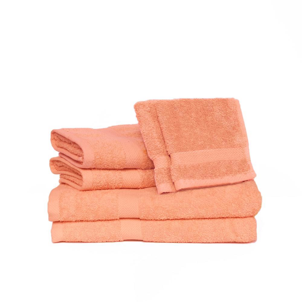 Espalma Deluxe 6-Piece Cotton Terry Bath Towel Set in Bisque 840449