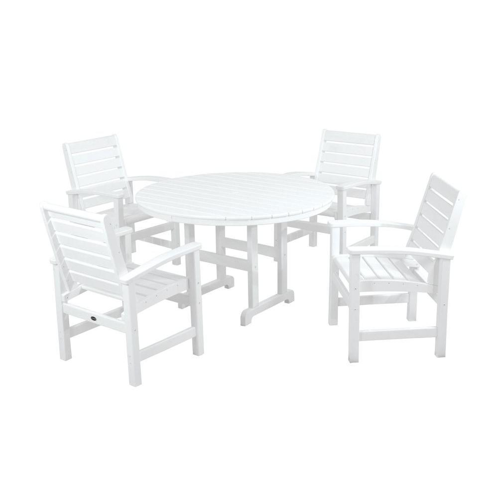 Signature White 5-Piece Plastic Outdoor Patio Dining Set