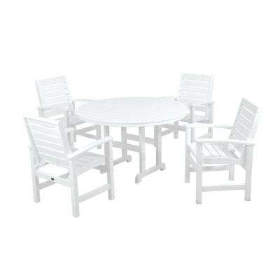 Signature White 5-Piece Plastic Outdoor Patio Dining Set
