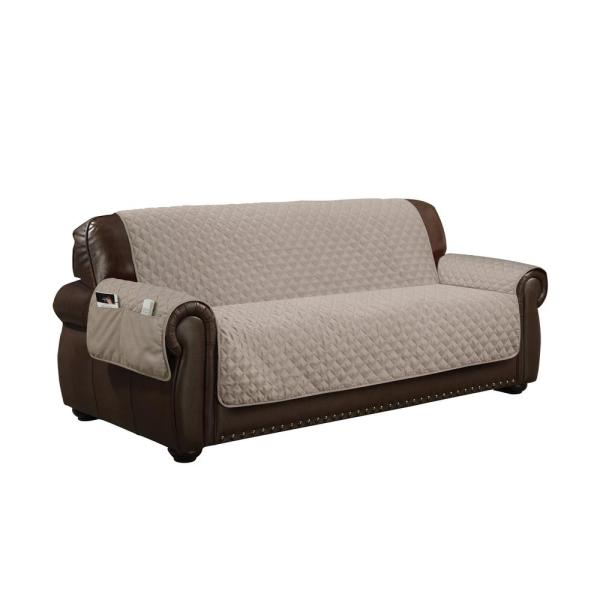 Wallace Water Resistant Taupe Fit Polyester Fit Sofa Slip Cover