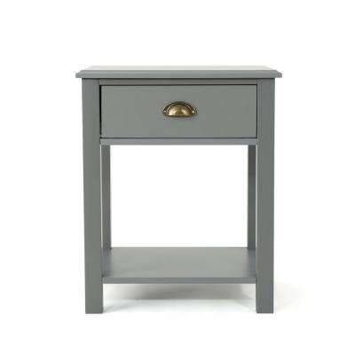 Arnav Traditional Gray Wooden Accent Side Table with Drawer and Shelf