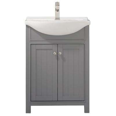 Marian 24 in. W x 17 in. D Bath Vanity in Gray with Porcelain Vanity Top in White with White Basin