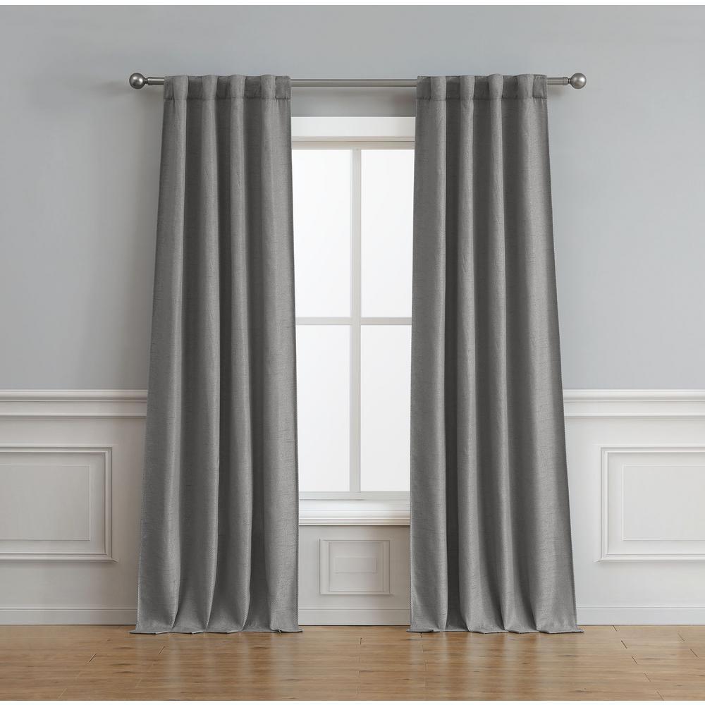 Bella Luna Astrid Thermal Room Darkening Backtab Window Curtain Pair in Charcoal - 76 in. x 84 in.
