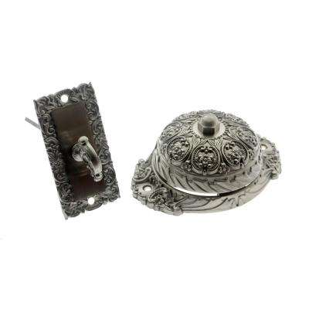 Solid Brass Ornate Mechanical Twist Door Bell in Satin Nickel