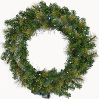 5 ft. Pre-Lit Wreath Arrangement with Multi-Color LED Lights