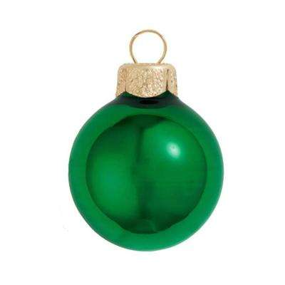2 in. Green Shiny Glass Christmas Ornaments (28-Pack)