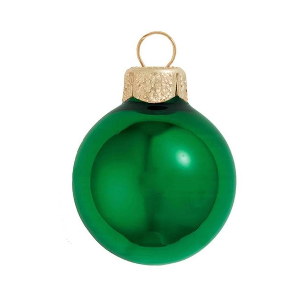 green shiny glass christmas ornaments 12 pack - Glass Christmas Ornaments