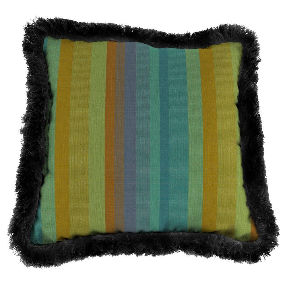 Jordan Manufacturing Sunbrella Astoria Lagoon Square Outdoor Throw Pillow with Black Fringe