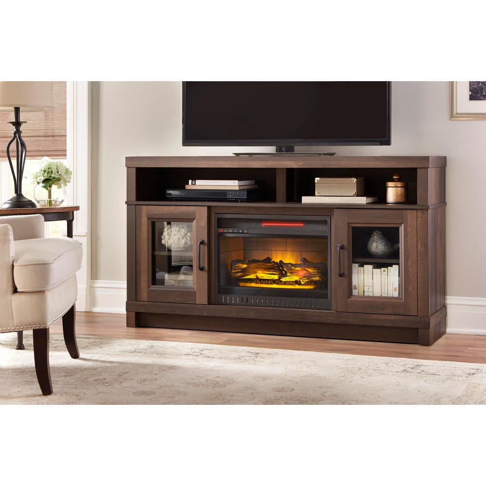 home decorators collection highland 40 in media console electric fireplace tv stand in faux. Black Bedroom Furniture Sets. Home Design Ideas