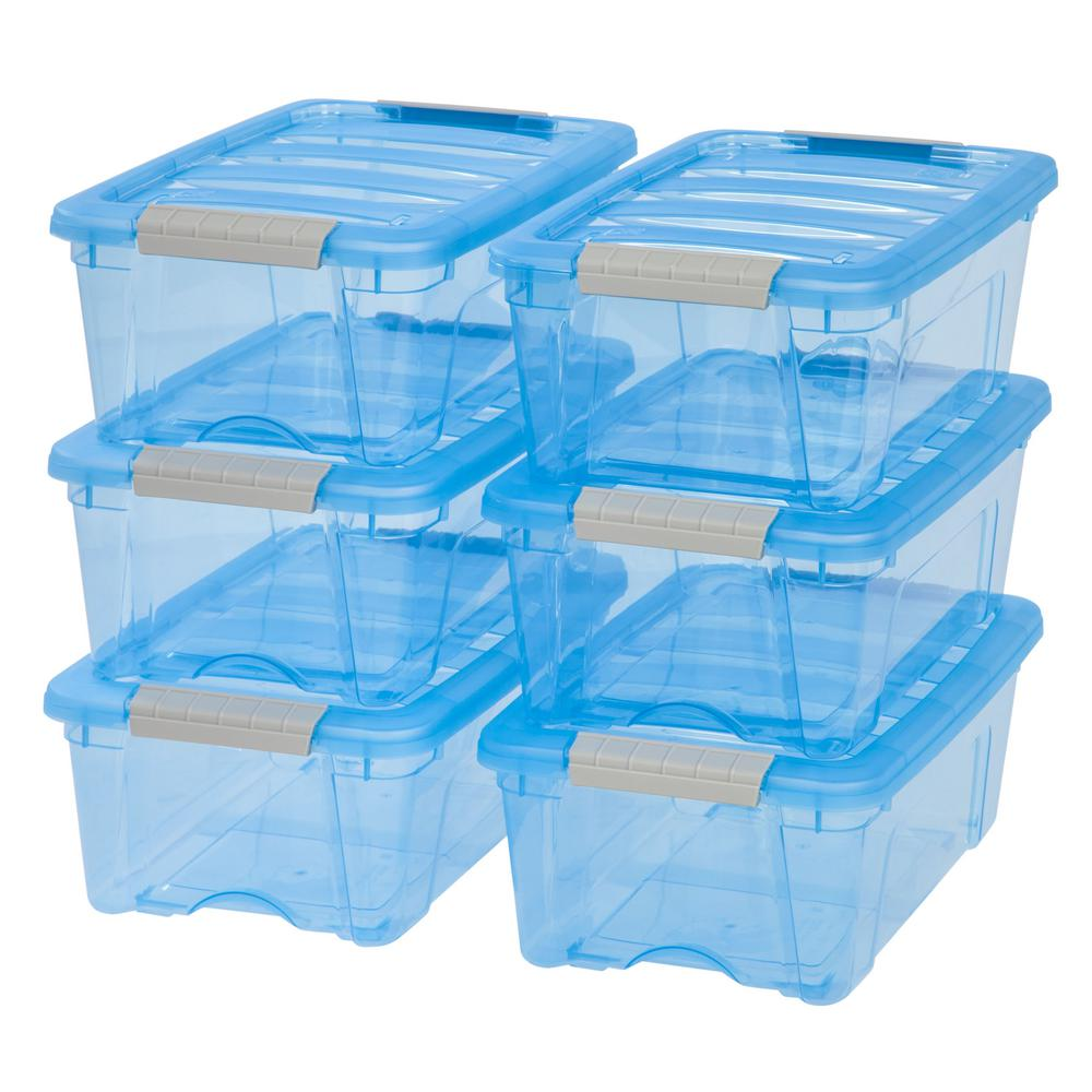 IRIS 12-Qt. Stack and Pull Storage Box in Trans Blue (6-Pack)