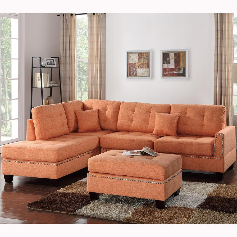 Venetian Worldwide Barcelona 3 Piece Sectional Sofa In Citrus With Ottoman