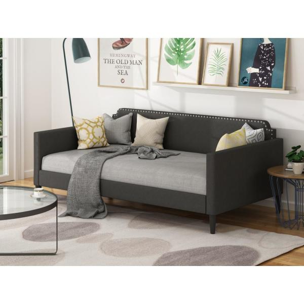 Upholstered Gray Twin Size Daybed