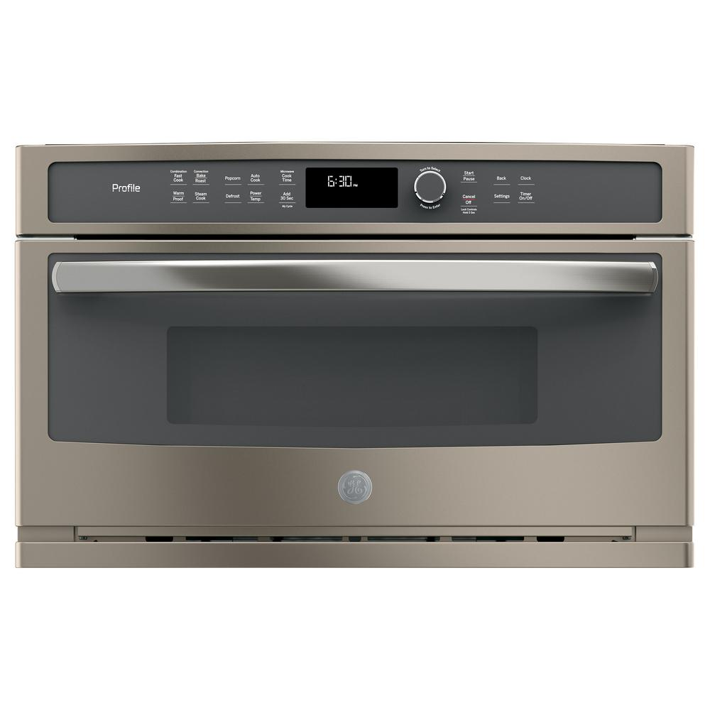 GE Profile 30 in. Electric Convection Wall Oven with Built-In Microwave in Slate, Fingerprint Resistant