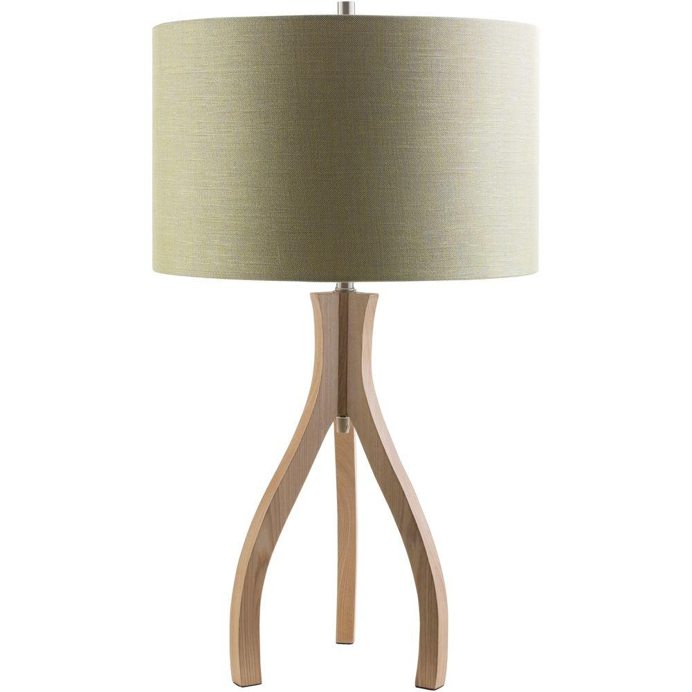 Artistic Weavers Benerito28.74 in. Natural Wood Indoor Table Lamp with Green Shade