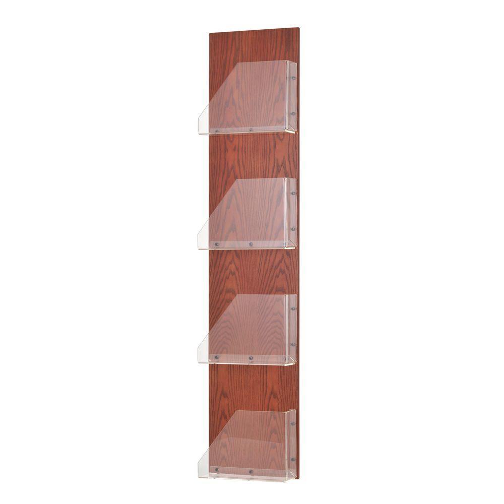 Princeton Wood Back/Acrylic Pocket Display Rack in Mahogany