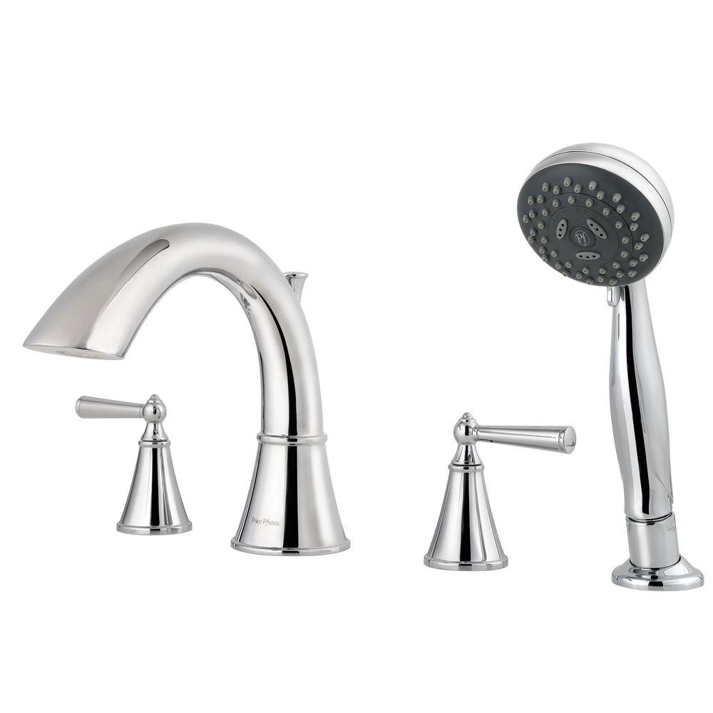 Pfister Saxton 2-Handle Deck Mount Roman Tub Faucet with Handshower Trim Kit in Polished Chrome (Valve Not Included)