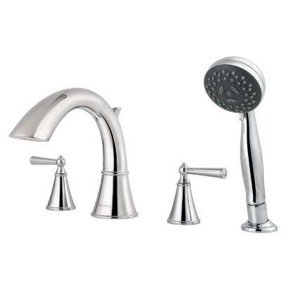 Saxton 2-Handle Deck Mount Roman Tub Faucet with Handshower Trim Kit in Polished Chrome (Valve Not Included)