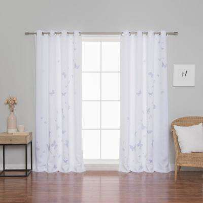 Butterfly Curtains 52 in. W x 84 in. L in Lilac (2-Pack)