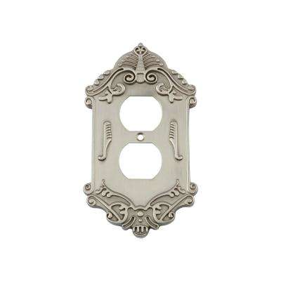 Victorian Switch Plate with Outlet in Satin Nickel