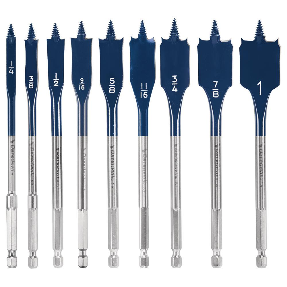 Daredevil High Carbon Steel Standard Spade Bit Set (9-Piece)