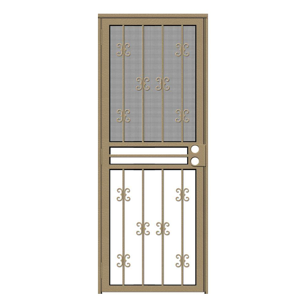 Unique Home Designs 32 in. x 80 in. Moorish Lace Tan Recessed Mount All Season Security Door with Insect Screen and Glass Inserts