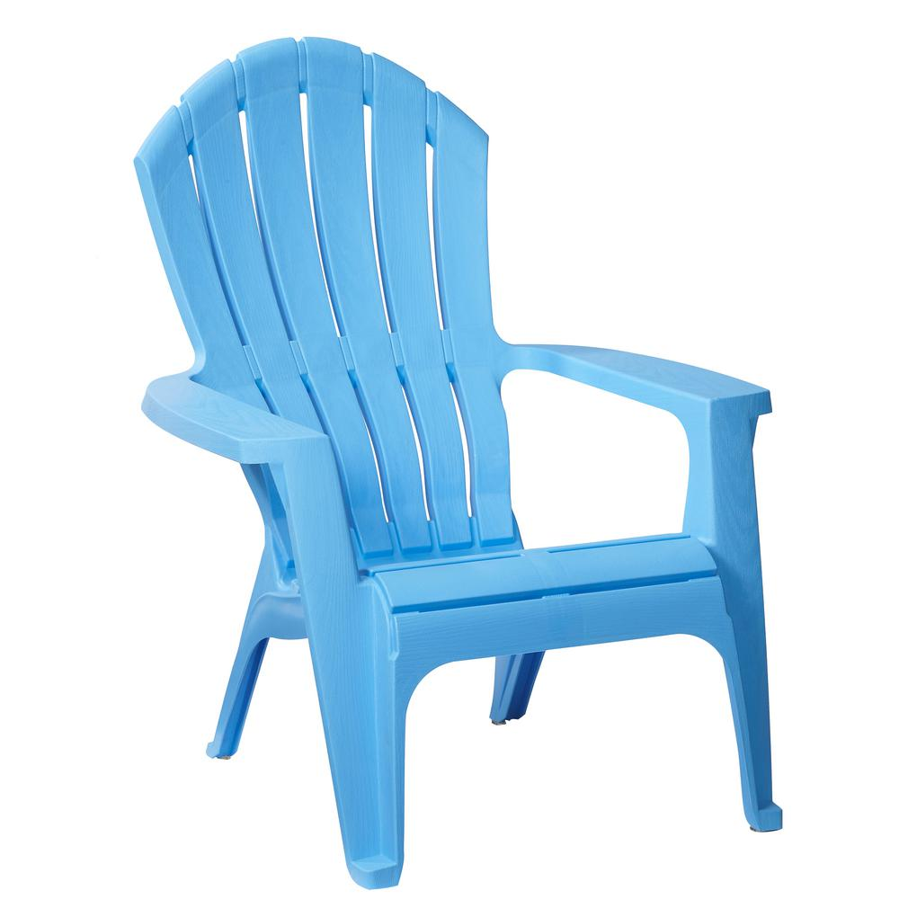 RealComfort Periwinkle Plastic Outdoor Adirondack Chair 8371 94 4304   The Home  Depot